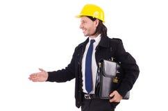 Junger Bauarchitekt lokalisiert auf dem Weiß Lizenzfreies Stockfoto