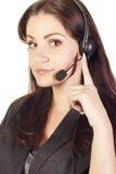 Junger Bediener mit Kopfhörer Lizenzfreies Stockfoto