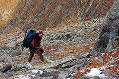 Junger Bergsteiger, der auf seine Freunde auf dem Berg wartet Stockbilder