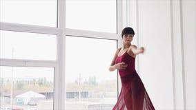 Junger, Berufstanzlehrer führt elegante Bewegungen in der Tanzhalle durch stock video