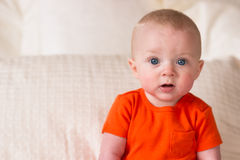 Junger blauäugiger Säuglingsjunge, der herauf das Betrachten der Kamera sitzt Stockfoto