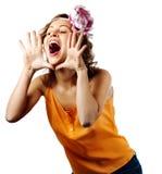 Junger blonder Frauenruf und -schrei Stockfotografie