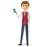 Junger blonder Geschäftsmann, der die flache Karikaturillustration des Telefonvektors spricht Lizenzfreie Stockfotos