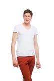 Junger blonder Mann lokalisiert auf Weiß Stockfotos
