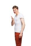 Junger blonder Mann lokalisiert auf Weiß Lizenzfreie Stockfotos