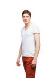 Junger blonder Mann lokalisiert auf Weiß Lizenzfreies Stockbild