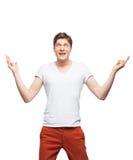 Junger blonder Mann lokalisiert auf Weiß Lizenzfreie Stockfotografie