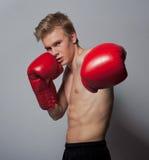 Junger blonder Mann mit Boxhandschuhen Stockfotos