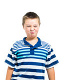 Junger blonder Mann mit Olive Skin Making Funny Face Stockbild