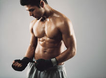 Junger Boxer, der für Kampf sich vorbereitet Stockbilder