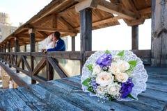 Junger Braut- und Bräutigamweg in der Natur Lizenzfreies Stockbild
