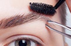 Junger Brunette mit Frauenmake-up des kurzen Haares Mädchen Kosmetik Lizenzfreie Stockbilder