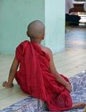 Junger buddhistischer Mönch auf Tempelschritten Stockfoto