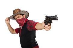 Junger Cowboy lokalisiert auf Weiß Lizenzfreies Stockbild