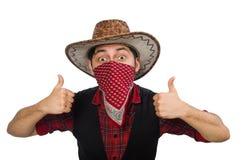 Junger Cowboy lokalisiert auf Weiß Stockfoto
