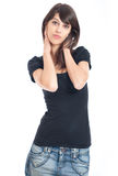 Junger dünner Brunette Stockfoto