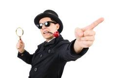 Junger Detektiv mit Rohr lizenzfreie stockbilder