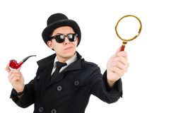 Junger Detektiv mit Rohr lizenzfreies stockfoto