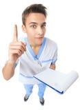 Junger Doktor, der eine gute Idee zeigt Stockfotos