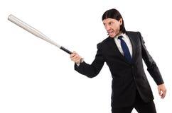 Junger eleganter Mann, der Schläger lokalisiert auf Weiß hält Lizenzfreies Stockbild