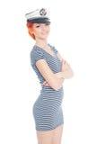 Junger entzückender Frauenseemann Stockfoto