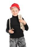 Junger Erbauer im Sturzhelm mit einem Seil Stockfotos