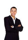 Junger erfolgreicher Geschäftsmann auf Weiß stockfotografie