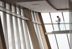 Junger erfolgreicher Geschäftsmann in der Penthauswohnung, die an arbeitet Stockbilder