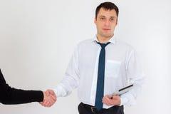 Junger erfolgreicher Geschäftsmann in einem Anzug, lokalisiert auf Weiß Stockbild