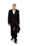 Junger erfolgreicher Geschäftsmann mit einem Aktenkoffer stockbild