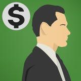 Junger erfolgreicher Geschäftsmann mit einer Dollarzeichen-Vektorikone Stockbild