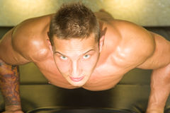 Junger erwachsener Athlet Doing Push Ups als Teil des Bodybuilding-Trainings Lizenzfreies Stockbild