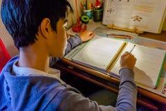 Junger europäischer jugendlich Student, der zu Hause Hausarbeit tut stockbilder