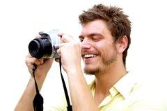 Junger Fotograf mit Kamera Stockfotos