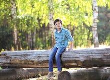 Junger froher Junge jugendlich Brunette, der auf dem Klotz sitzt Lizenzfreie Stockfotografie