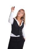 Junger Geschäftsfrauabgehobener betrag mit der Markierung getrennt stockfotografie