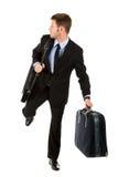 Junger Geschäftsmann betriebsbereit zum Reisen Stockbild