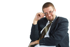 Junger Geschäftsmann, der bossy schaut lizenzfreie stockbilder