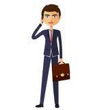 Junger Geschäftsmann, der die flache Karikaturillustration des Telefons spricht Lizenzfreies Stockfoto