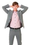 Junger Geschäftsmann in der Klage lizenzfreie stockbilder
