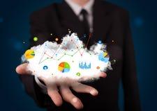 Junger Geschäftsmann, der Wolke mit Diagrammen und Diagrammikonen a darstellt Lizenzfreie Stockbilder