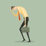 Junger Geschäftsmann ermüdet, einen Aktenkoffer halten stock abbildung