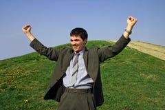 Junger Geschäftsmann glücklich Lizenzfreies Stockbild