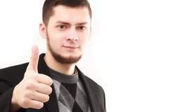 Junger Geschäftsmann mit dem Daumen oben Lizenzfreie Stockfotografie