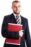 Junger Geschäftsmann mit dem Laptop getrennt auf Weiß Lizenzfreies Stockbild