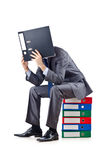 Junger Geschäftsmann mit Faltblättern Lizenzfreies Stockfoto