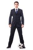 Junger Geschäftsmann mit Fußball Lizenzfreies Stockfoto
