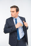 Junger Geschäftsmann mit Geld lizenzfreie stockbilder