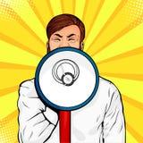 Junger Geschäftsmann mit offener schreiender Mitteilung des Munds und des Megaphons Bunte Vektorpop-art stock abbildung