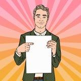 Junger Geschäftsmann Pointing am Blatt des leeren Papiers 3d übertragen Retro- Illustration der Pop-Art Lizenzfreie Stockbilder